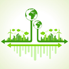 Ecology concept with eco earth - vector illustration