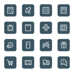 Home appliances web icons, navy square buttons