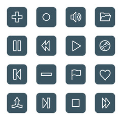 Media player web icons, navy square buttons