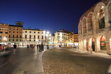 Italy, Veneto, Verona, Arena,Roman theater, Piazza Bra at dusk