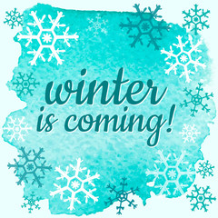 Winter poster with blue watercolor background
