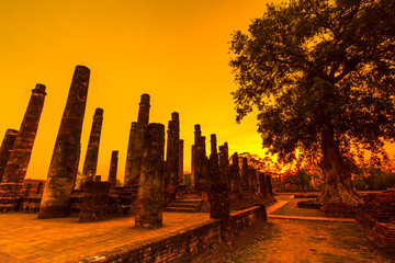 Sukhothai historical park in the sunset, Thailand