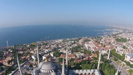aerial istanbul turkey blue mosque sultanahmet cami mosque