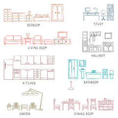 Colorful hand drawn house related furniture elements