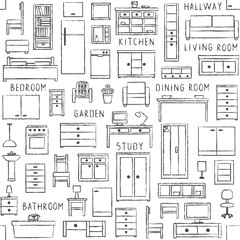 Vector seamless pattern with hand drawn furniture