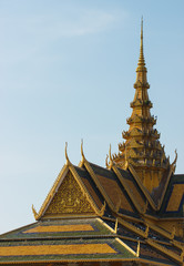 Amazing view of buddhist temple near royal palace in Phnom Penh