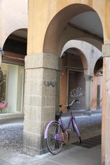 Street scene with bike, Via Roma, Padova, Italy