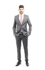 Full length portrait of sales man