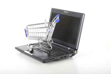 Shopping cart on notebook