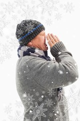 Composite image of sick mature man blowing his nose