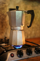 Moka pot on a stove