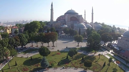 aerial istanbul turkey hagia sophia  saint sophia  ayasofya