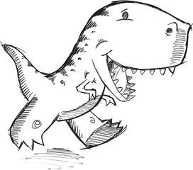Doodle Dinosaur T-Rex Vector Illustration Art