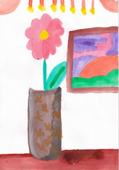 Flower in vase on the table. Children's aquarelle drawing.