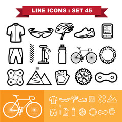 Bicycle Line icons set 45