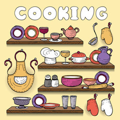 Vector illustration with set of cooking symbols