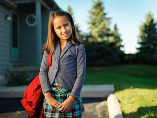 little girl portrait on way to school