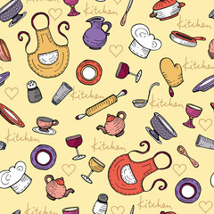 Vector pattern with cartoon kitchen ware