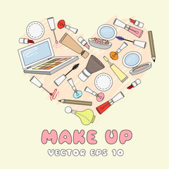 Vector stylized heart with cosmetic elements