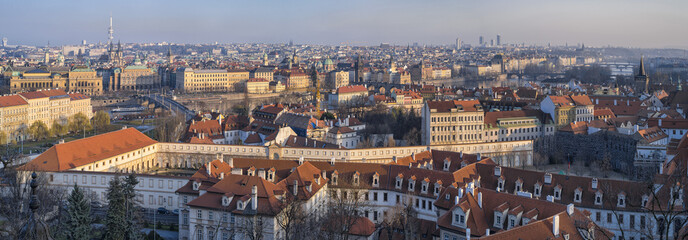 view to Prague from hills