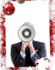 Senior businessman using a megaphone