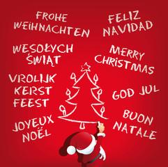 Santa Claus schreibt frohe weihnachten international