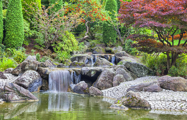 Cascade waterfall in Japanese garden in Bonn
