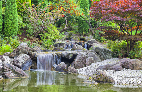 Foto op Canvas Tuin Cascade waterfall in Japanese garden in Bonn