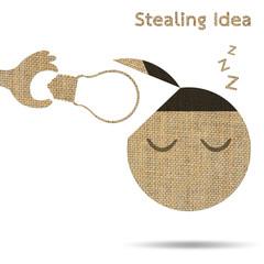 stealing idea light bulb