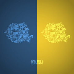 Low Poly Romania Map with National Colors