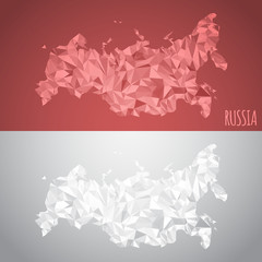 Low Poly Russia Map with National Colors