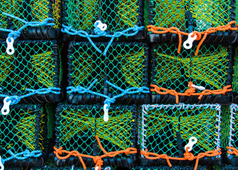 Closeup on Lobster pots on the dock, England