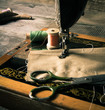 canvas print picture - Sewing. Sewing machine and tools.
