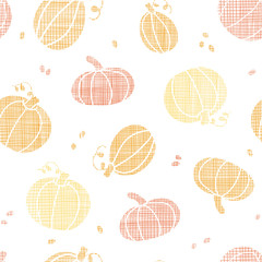 vector Thanksgiving pumpkins textile seamless pattern background