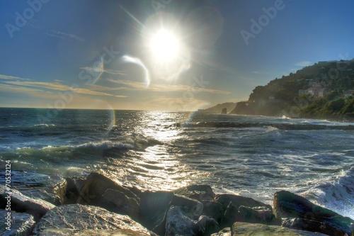 canvas print picture Meer und Sonne gespiegelt