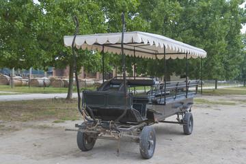 not drawn black carriage on a Tuscan farmhouse