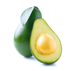 Ripe avocado isolated on white.