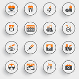 Medicine icons with white buttons on gray background.