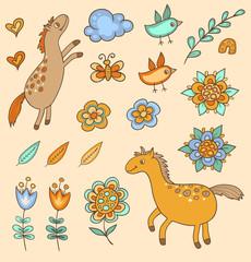 Set of doodle design elements