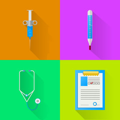 Colored flat icons for hospital