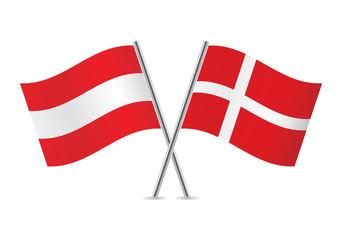 Austrian and Danish flags. Vector illustration.