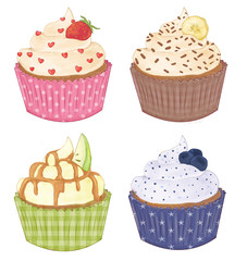 Cupcakes - Strawberry, Apple, Blueberry, Banana with Chocolate