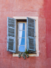 Nice, France. Window of the house in Provencal sty