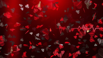 Abstract Hearts on red ECG line background