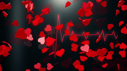 Abstract Hearts on black ECG line background