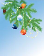 Fir branches and Christmas balls