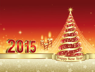 Christmas card with 2015 and Christmas tree and candles