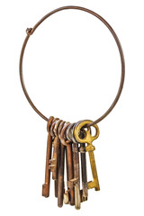 Set of vintage rusty keys on a ring isolated on white