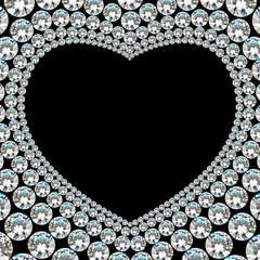 Shiny diamond heart frame on black background