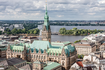 View of the old center of Hamburg and the lake.